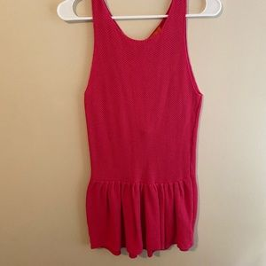 ***3 FOR $10 PROMO*** Pink Knit Peplum Tank Top